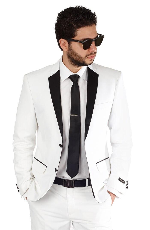 الأبيض الشق طية صدر السترة مفصل 3 قطع (JacketPantTie) أزياء الرجال الدعاوى وسيم الرسمي Terno Masculino زرين عالية الجودة