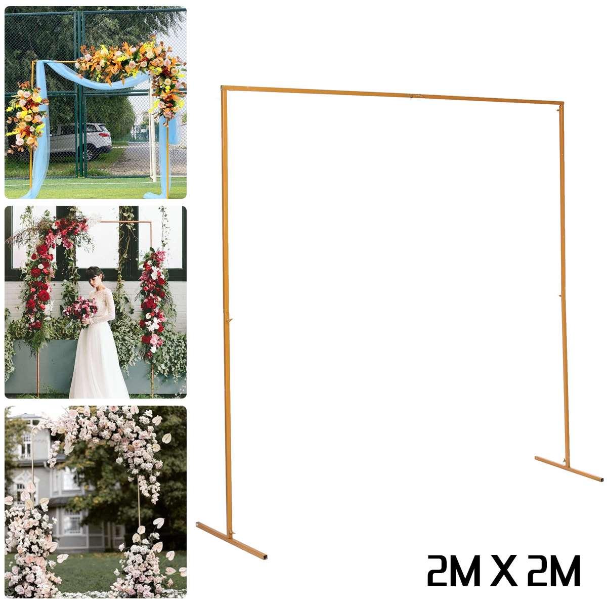 2 متر × 2 متر مرحلة الزفاف إطار الخلفية الحديد المطاوع الزخرفية زهرة حامل مخصص الزفاف مربع قوس الجرف ديكور الزفاف