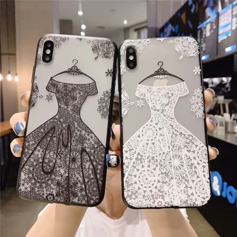 Lace Hollow Scrub Wedding dress Girl Phone Case For OPPO A9 2020 A7 A83 A57 A59 Realme 3 F5 F9 F7 A9 cover For OPPO F1S A5 2020