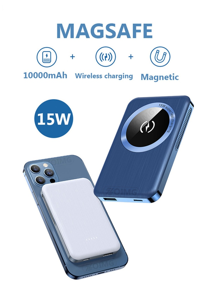 10000mAh Power Bank For MagSafe 15W Magnetic Fast Wireless powerbank Charger For iPhone xiaomi QI Mobile Phone External Battery