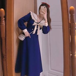 Kawaii Midi Dress Women Sailor Collar Long Sleeve French Elegant Vintage Party Dress Female One Piece Dress Korean 2021 Spring