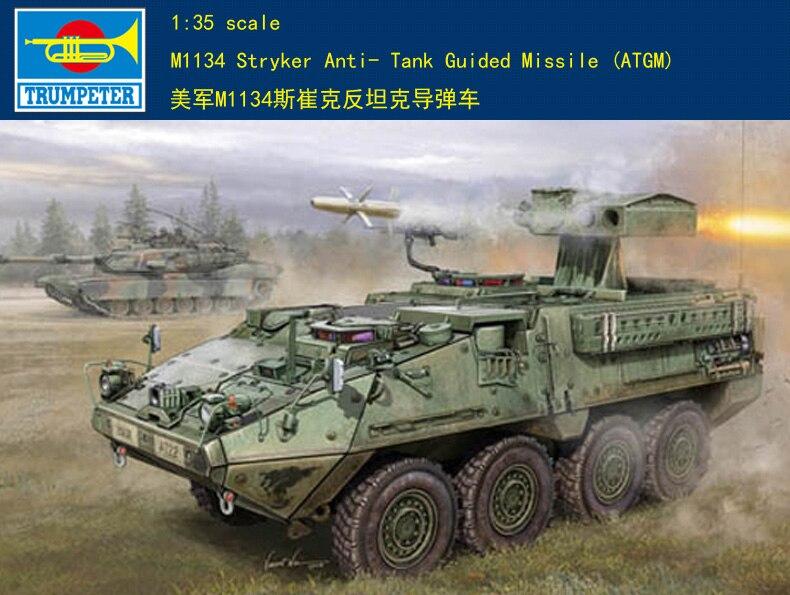 Maqueta Trumpeter, 00399, M1134, Stryker, kit de modelo de tanque Anti-tanque (ATGM)
