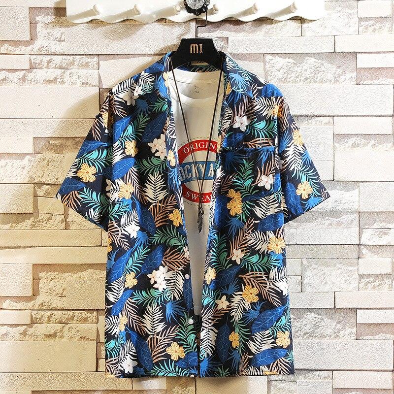 Брендовые футболки с принтами 2021 летние мужские пляжные Модная рубашка с короткими рукавами и цветочным узором; Свободные повседневные руб...