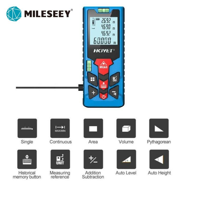 Medidor de distancia láser portátil Mileseey 60 M telémetro láser de alta...