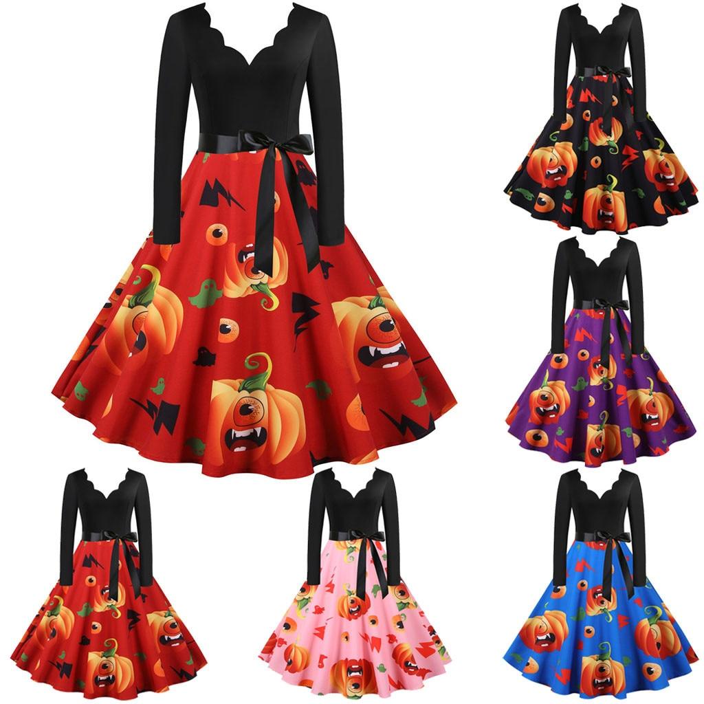 2020 nuevo verano mujeres vestidos Sexy mujeres Vintage manga larga Halloween 1950s Housewife noche fiesta Prom vestido Simple moda