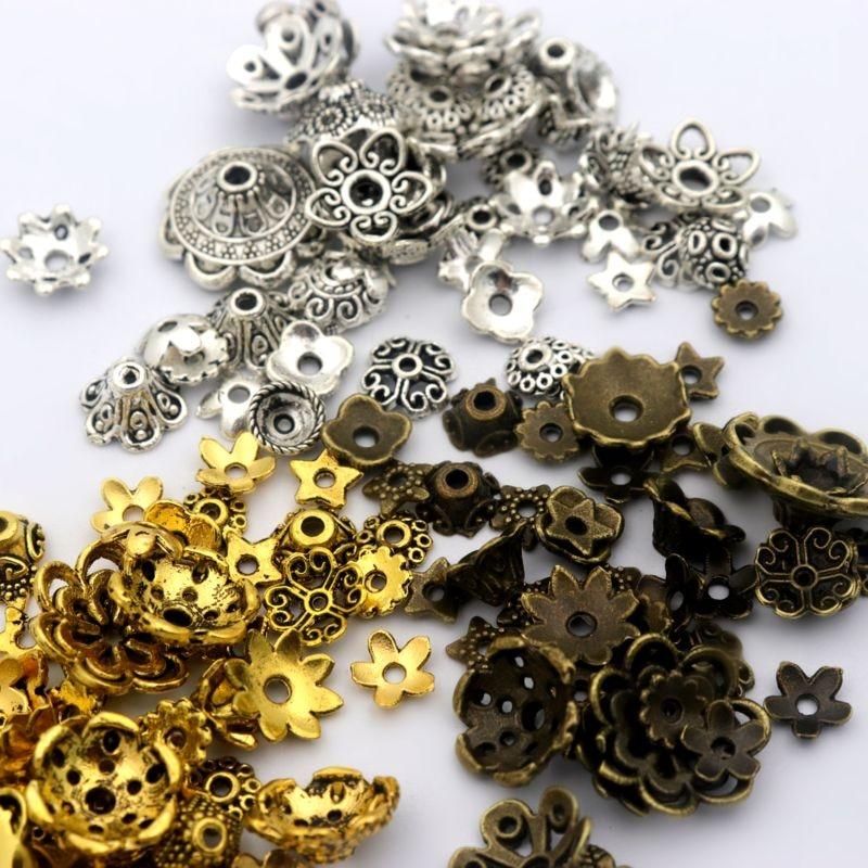 150 Uds mezcla plata tibetana oro flor Metal espaciador tapas de cuentas del extremo sueltas para hacer joyas encontrar al por mayor