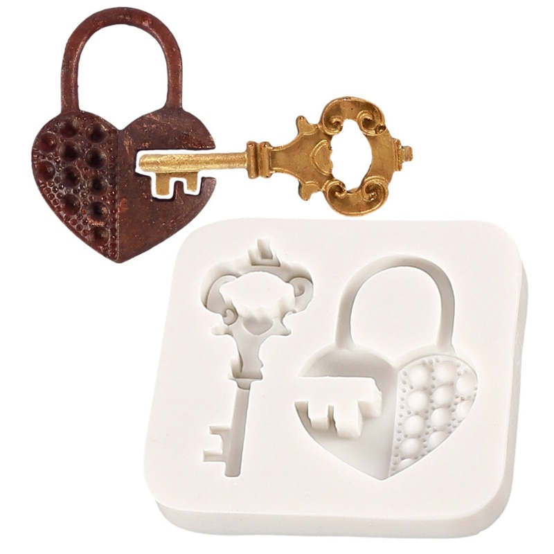 72XE ريترو مفتاح قفل المفاتيح الايبوكسي الراتنج قالب لتقوم بها بنفسك أقراط قلادة قالب من السيليكون