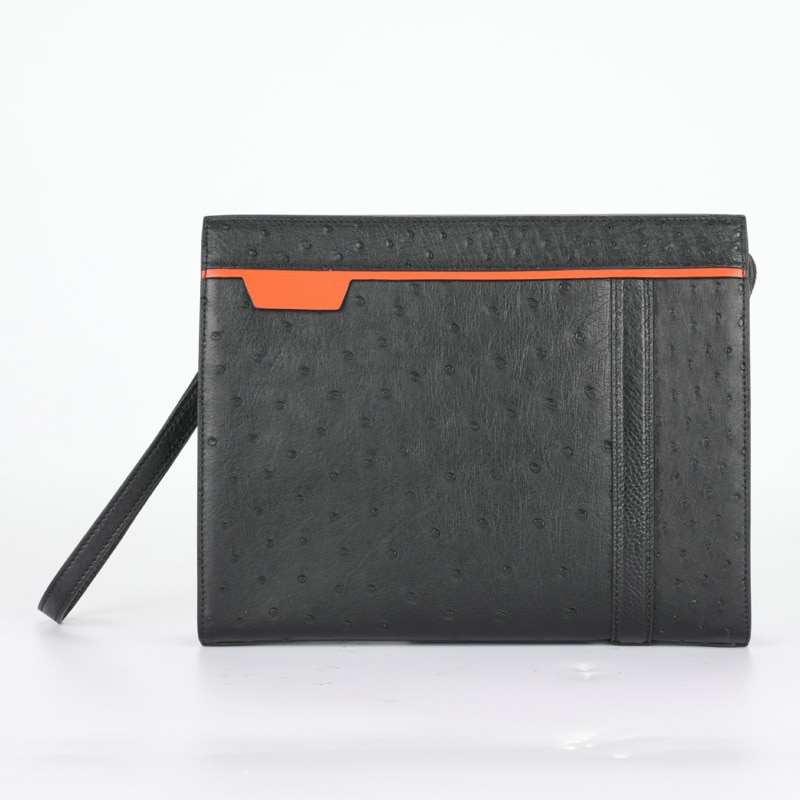 Mens Wallet Genuine Ostrich Leather Hand Bag Business Leisure Coin Purse Wristlet Holographic Luxury Designer Free Shipping