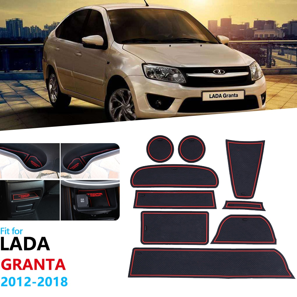 Anti-Slip Rubber Gate Slot Cup Mat for Lada Granta 2012 2013 2014 2015 2016 2017 2018 Door Groove Mat Coaster Accessories