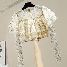 Bunte Bronze Pailletten Bluse Frau Mode Spitze Nähte Lange-Sleeve Zipper Short Schicht Lotus Blatt Mesh Shirt Crop Top blusas