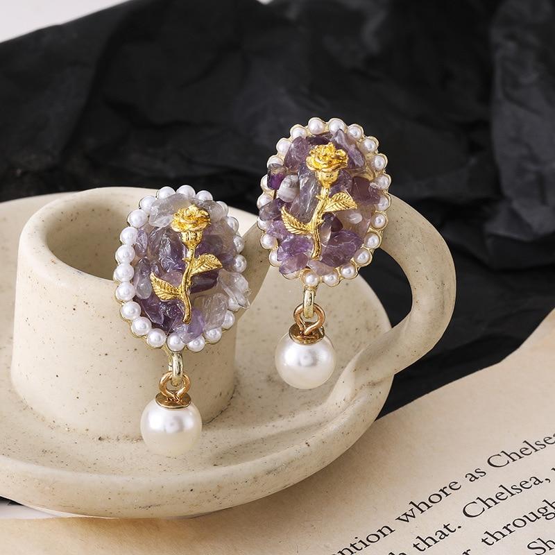 2021 nouvelle mode rétro fleur série boucles doreilles bijoux, créatif belle femme foe boucles doreilles corée bijoux en gros fête cadeaux