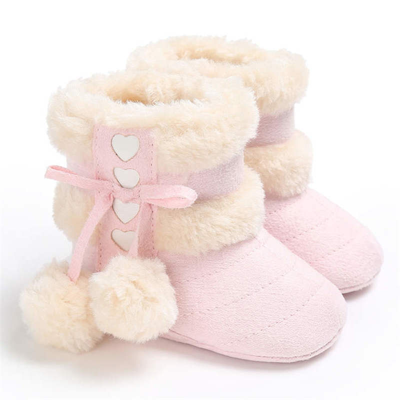 AliExpress - 2019 Winter Snow Baby Boots 7-Colors Warm Fluff Balls Indoor Cottton Soft Rubber Sole Infant Newborn Toddler Baby Shoes