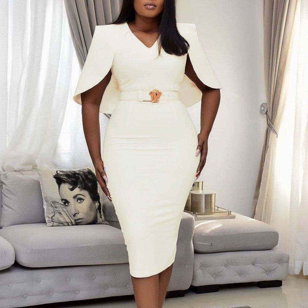 African Sexy Women V-Neck Half Sleeve Bodycon Dress Pure White Mid-Calf High Waist Party Dresses Elegant Vestidos Robes OL Chic
