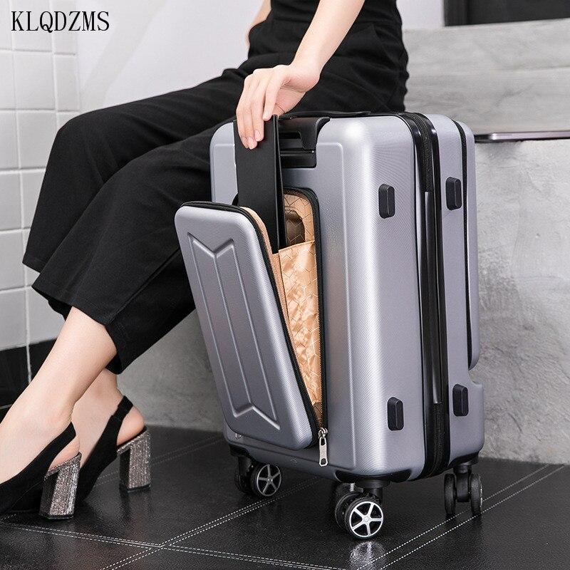 Klqdzms 202024 24 Polegada mulheres rolando bagagem com portátil saco de viagem caso abs carry on spinner rodas mala