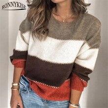 Ronnykise retalhos cor malhas pullovers topos inverno moda manga longa o pescoço casual blusas soltas para mulher