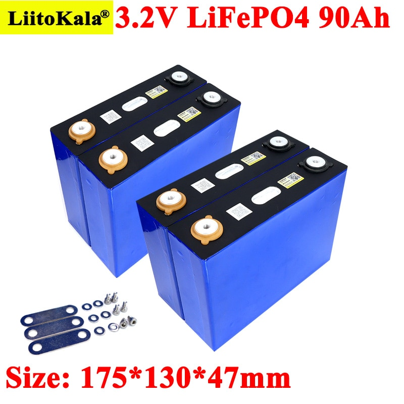 Liitokala-بطارية LiFePO4 ، 3.2V ، 90ah ، ليثيوم ، حديد ، فوسفات ، سعة كبيرة 90000 مللي أمبير ، للدراجات النارية ، السيارة الكهربائية