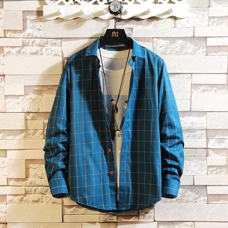 Рубашка мужская клетчатая с длинным рукавом, модная брендовая теплая флисовая подкладка, Повседневная Толстая кофта, на осень