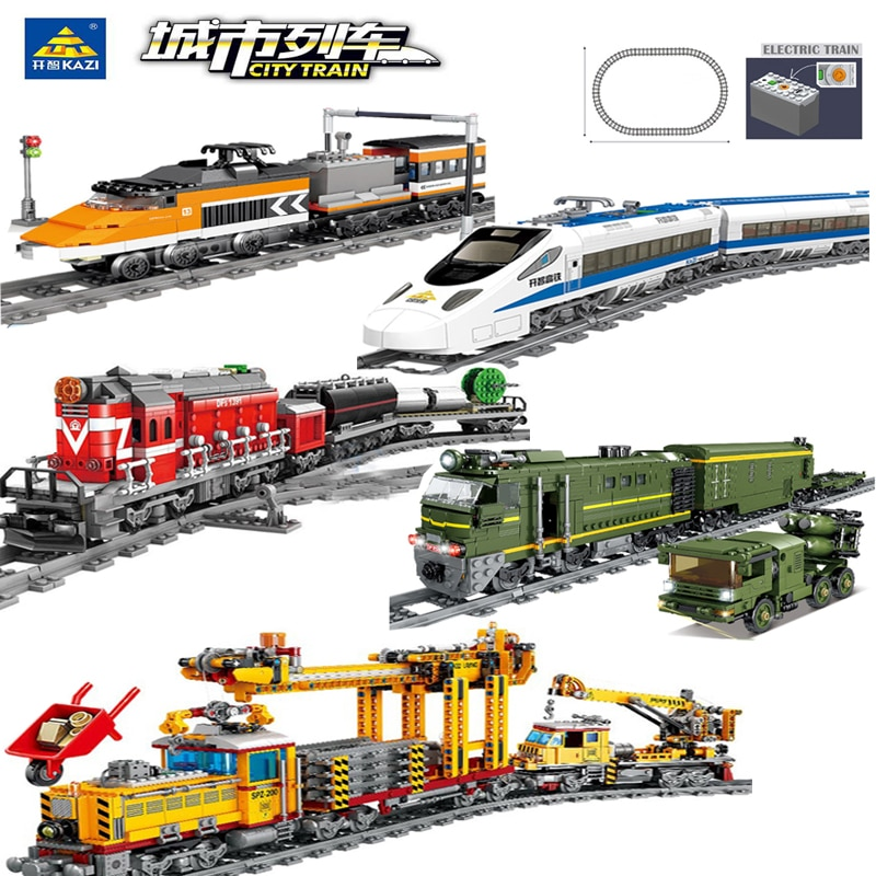 مدينة قطار التحكم عن بعد الوئام عالية السرعة السكك الحديدية سيارة كهربائية اللبنات التقنية المسار الطوب لعب للأطفال الهدايا