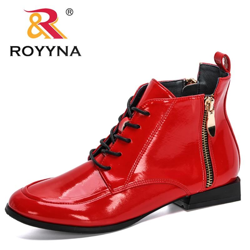 ROYYNA 2020 المصممين الجدد براءات الاختراع والجلود عالية الأحذية امرأة الخريف سستة الأحذية الإناث الدانتيل متابعة الأحذية Feminimo شقة بوتاس موهير
