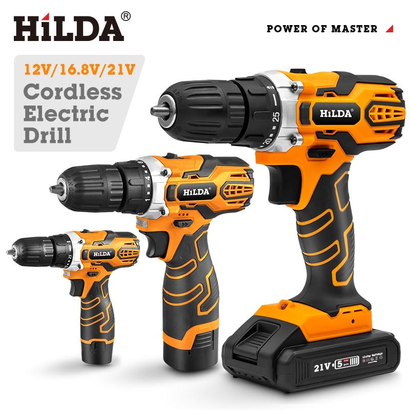 cordless drill screwdriver pobeda da 14 2 li HILDA Cordless Drill Electric Drill Wireless Drill  Electric Screwdriver Cordless Screwdriver DC Lithium Battery Power Tools