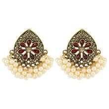 2020 indien or perles à la main gravé fleur Jhumki Jhumka thaïlande Piercing boucles doreilles coréen mode fête Bijoux
