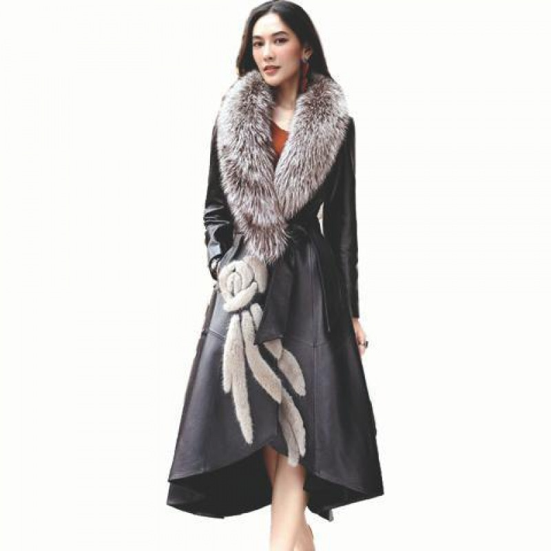 Leather Coat Female Autumn New European Sheep Skin Mink Fur Fox Hair Collar Haining Leather Windbreaker Slim V-Neck Outwear B13
