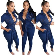 2021 New Spring Summer Women Denim Jumpsuits Long Sleeve Rompers Bodysuit Woman Blue Jeans Jumpsuit