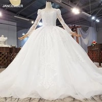 htl1850 luxurious and elegant charming o neck crystal appliques long sleeve beading wedding dress 2020 ball gowns