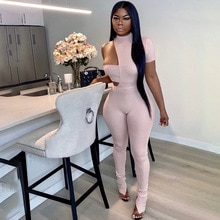 Streetwear Tracksuit Two Piece Set Women Outfits Ribbed Solid Jumpsuit And Off Shoulder Crop Top Mat