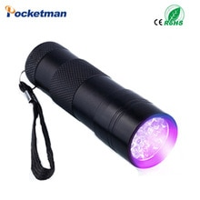 UV Torch Light Lamp Flashlight Free Shipping Mini Portable UV Flashlight Violet Light 9 LED Check Money UV Light