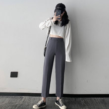 Black Suit Women's Straight Loose Spring and Autumn Leisure Pants Versatile Slimming High Waist Droo