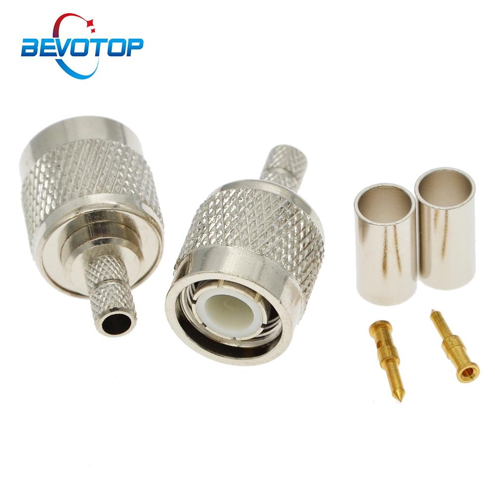 100 قطعة/الوحدة BEVOTOP TNC الذكور المكونات تجعيد RG58 RG142 RG223 LMR195 50-3 كابلات RF موصل