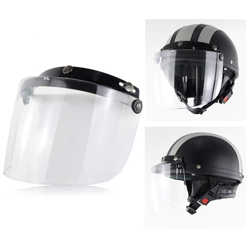 Windproof 3-Snap Visor Lens Shield for Motorcycle Helmets Flip Up Down Open Face Anti glaring Helmet Accessories vcoros straight 3 snap bubble shield motorcycle helmet visor retro scooter lens with flip up vintage helmet