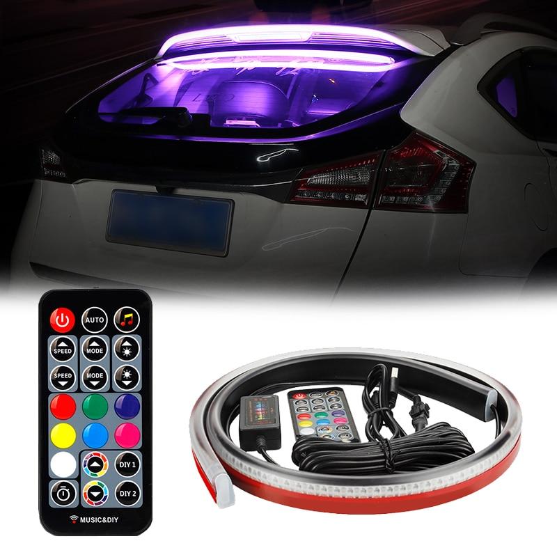 Niscarda LED زجاج سيارة الصوت عن بعد المنشط RGB شرائط مصباح النيون الموسيقى إيقاع فلاش مصباح 3rd الذيل تحذير أضواء