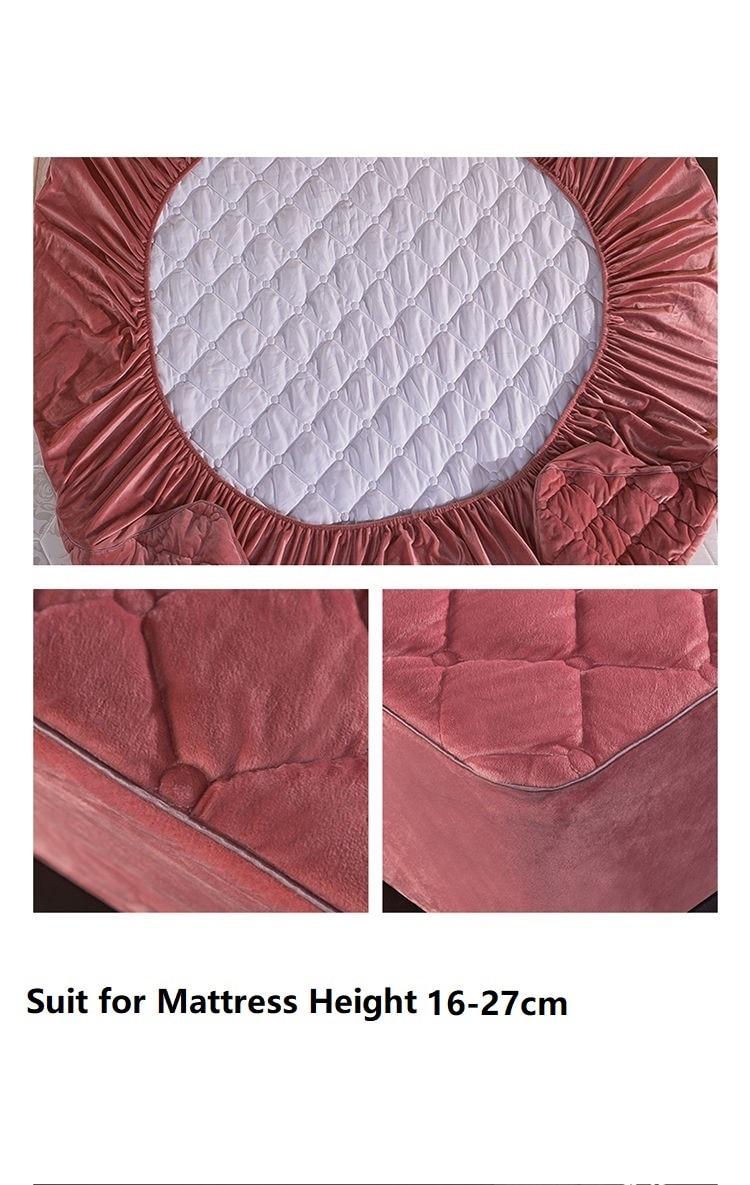 Housse de matelas matelassée en peluche, drap-housse de lit chaud et doux en velours cristal, King Queen, taie d'oreiller non incluse