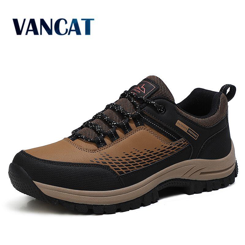 New Brand Men Sneakers Waterproof Leather Men's shoes Fashion Outdoors Men's Hiking Shoes Combat Desert Men Casual Shoes Size 46