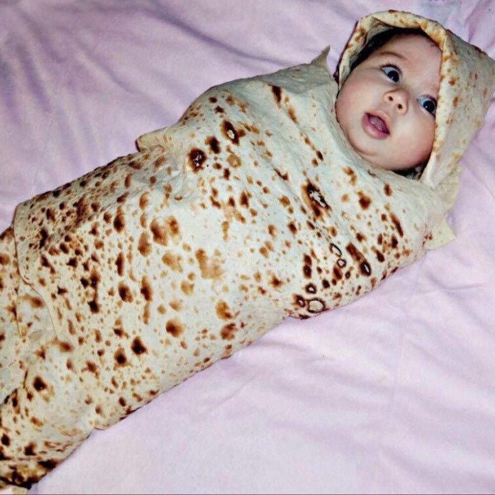 Burrito Baby Blanket Flour Tortilla Swaddle Blanket Sleeping Swaddle Wrap Hat