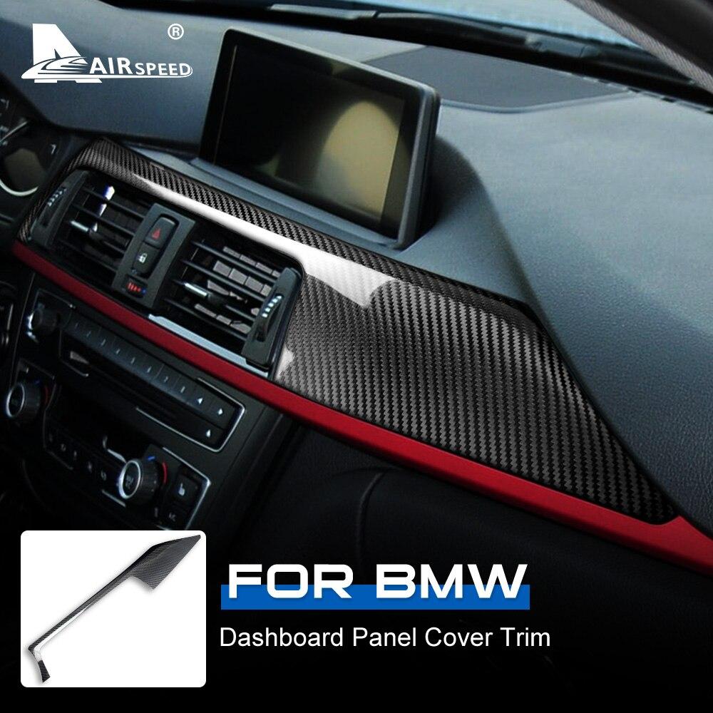 LHD para BMW F30 F31 F32 F33 F34 F36, accesorios, Panel de tablero de coche de fibra de carbono Real, cobertura decorativa adhesivo de ajuste Interior