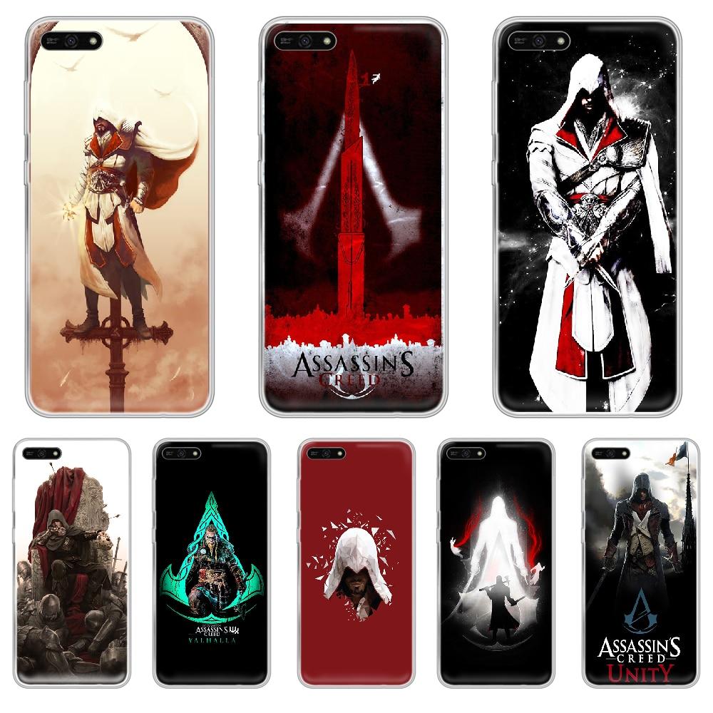 Asesino s Creed juego teléfono caso casco para HUAWEI honor amigo 8 9 10 20 30 S X pro lite parte posterior transparente 3D cubierta de tendencia
