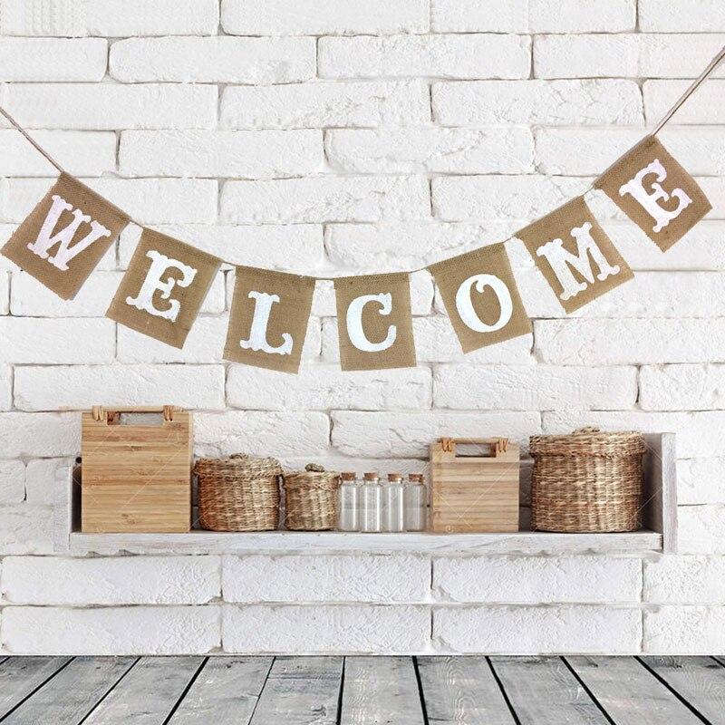 Banderín de lino para decoración del hogar de boda pancarta de techo de bienvenida banderas de yute de arpillera 1 Uds suministros de baño para bebé para eventos y fiestas de cumpleaños