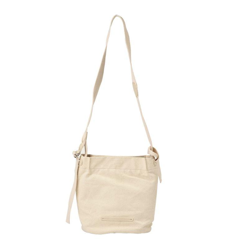 Women Women Bucket Canvas Shoulder Bag Solid Color Large Capacity Casual Art Style Delicate Hardware Shopping Ladies Handbag 2