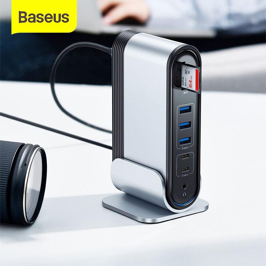 Baseus-محول متعدد الوظائف ، USB 3.0 ، محطة إرساء ، متوافق مع MacBook Pro ، RJ45 ، OTG