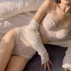 New large-size lace underwear women breathable thin high-waisted underwear bra set
