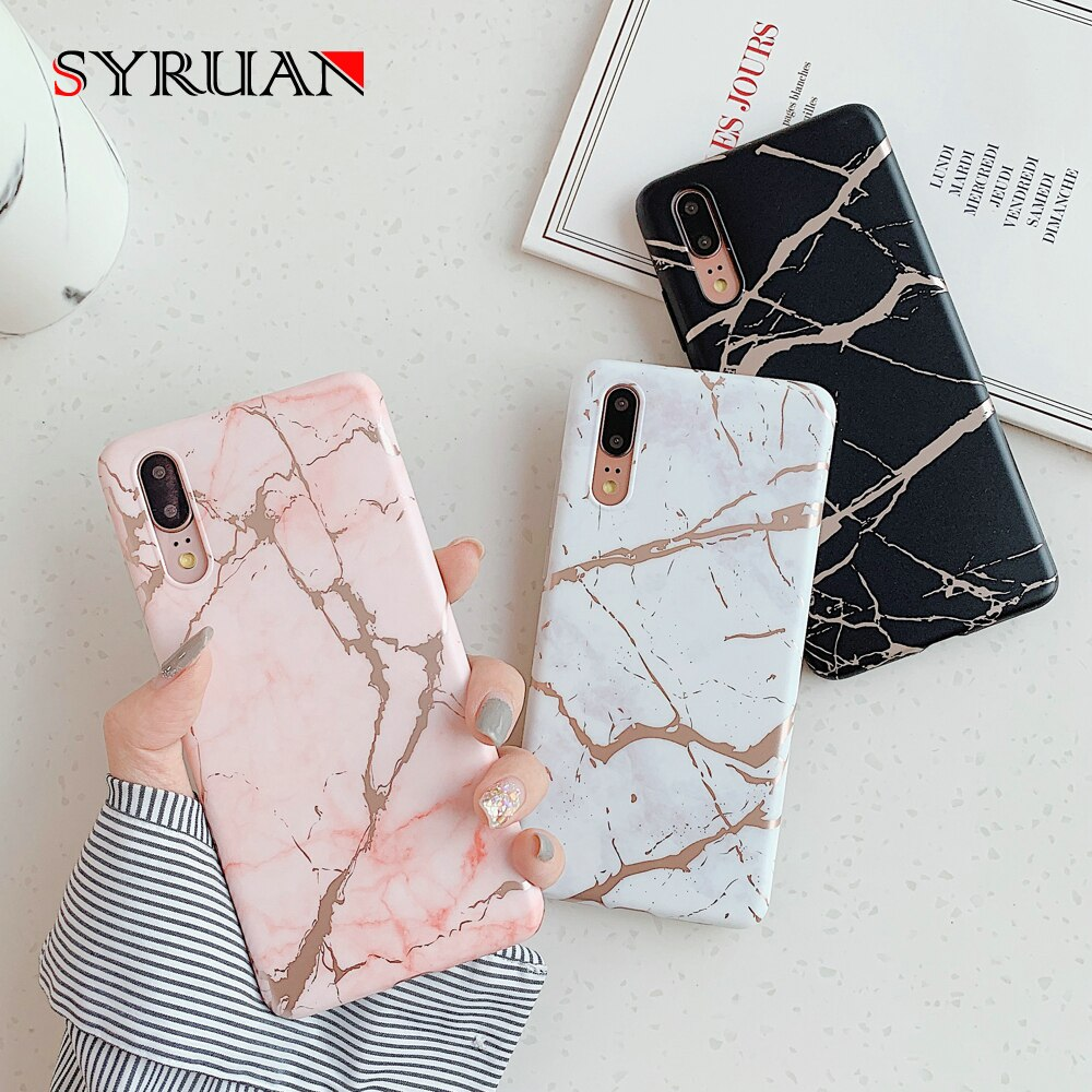 Caso de chapeamento de moda de mármore para huawei p30 pro p20 lite maet 20 30 p lite capa de telefone em silicone capa rosa branco preto
