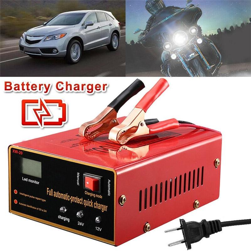 Cargador de batería de 12V/24V 10A 140W para motocicleta, camión, coche, reparación de pulso de energía, plomo-ácido, hierro, litio, sin batería, cargador