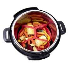 김이 나는 음식과 야채를위한 실리콘 접이식 기선 바구니 내열성 비 스크래치 BPA 프리 주방 조리 도구