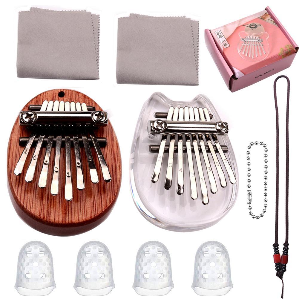 Mini Kalimba 8 Keys Thumb Piano Great Sound Finger Keyboard Musical Instrument Cute Accessory Pendant Gift for Kids Girlfriend