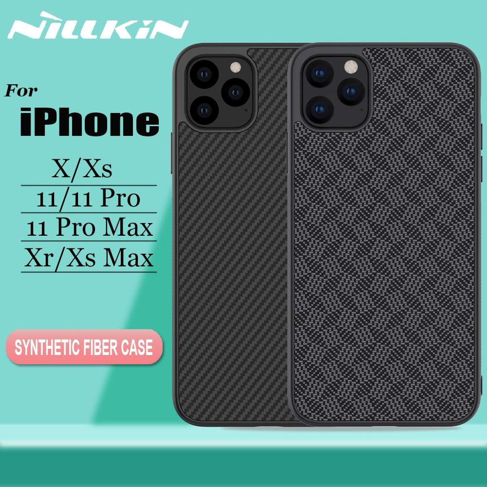 Nillkin Cases for iPhone 11 Pro Max X Xr Xs Max Case Aramid Carbon Fiber Hard PC Plastic Back Cover Case for iPhone 11 Pro Max