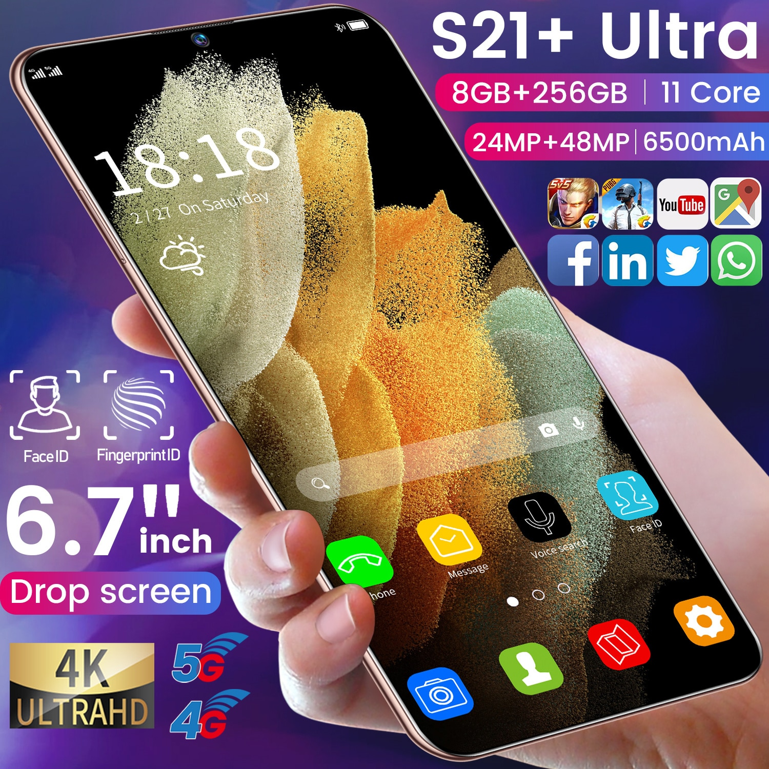 Blue Cell phone 5G  Smartphone S21+Ultra 8GB RAM 256GB ROM Mobile Phone 6.7Inch Face ID Unlocked Android 10.1 System Dual Sim enlarge