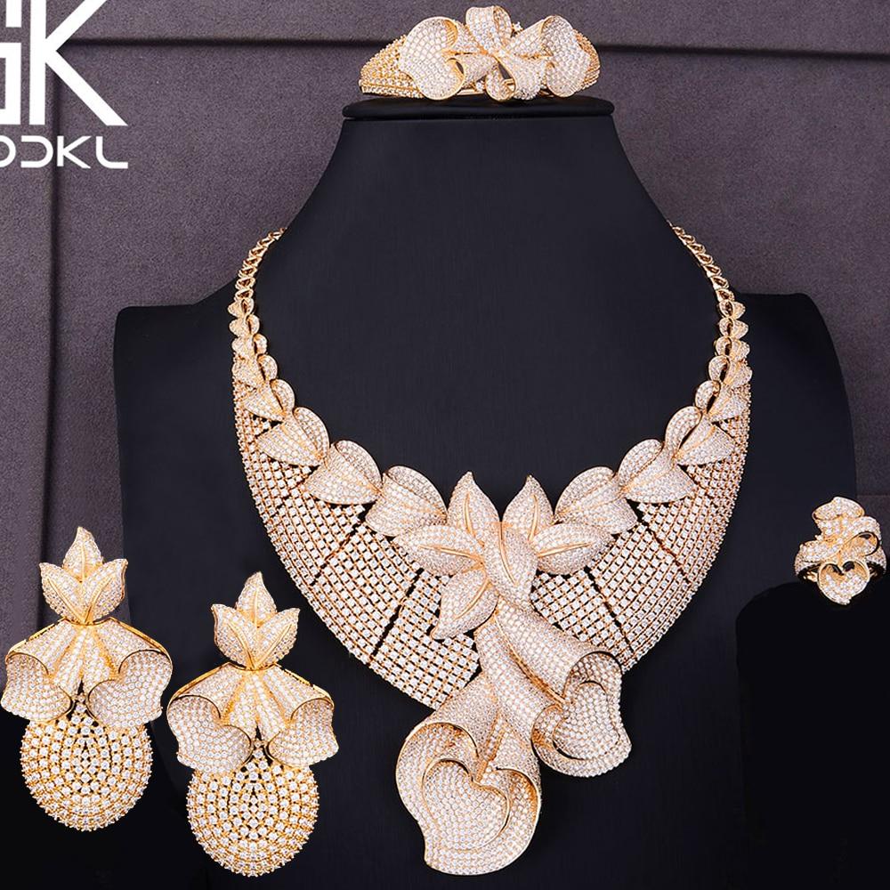 Godki luxo super grandes bowknots feminino casamento nigeriano noiva zircônia cúbica colar dubai 4 pçs conjunto de jóias vício